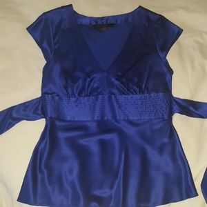 Express Royal Blue Silk Blouse